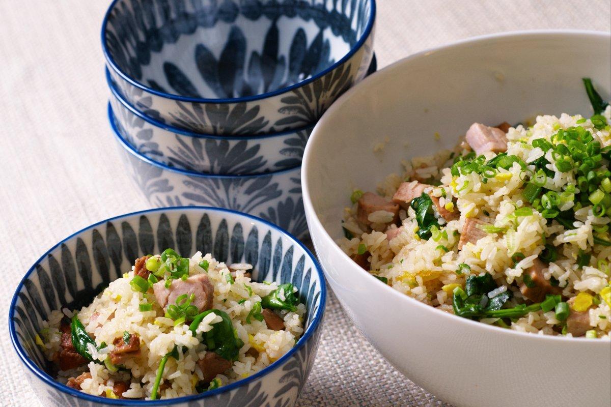 serving pork fried rice