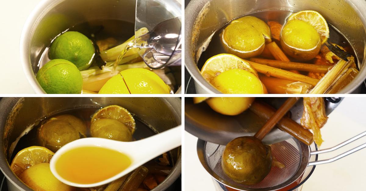 making lemon ginger syrup