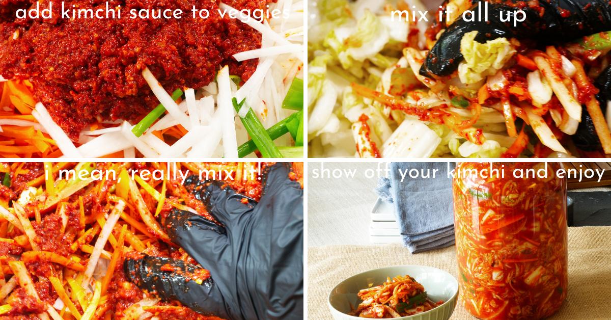 real deal kimchi mixing