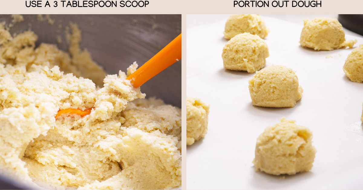 portion dough for almond cookie