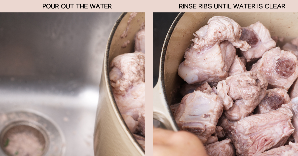 pork rib radish soup drain water
