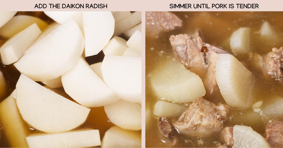 pork rib radish soup finish