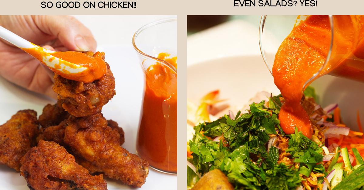 sriracha on salad chicken