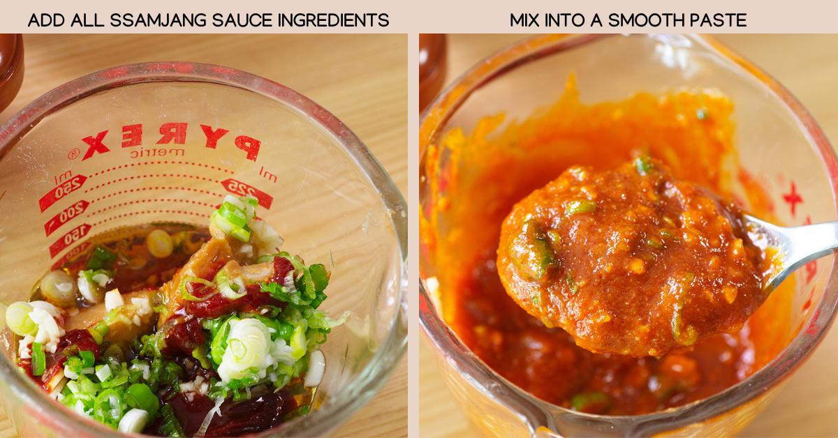 mixing ssamjang sauce