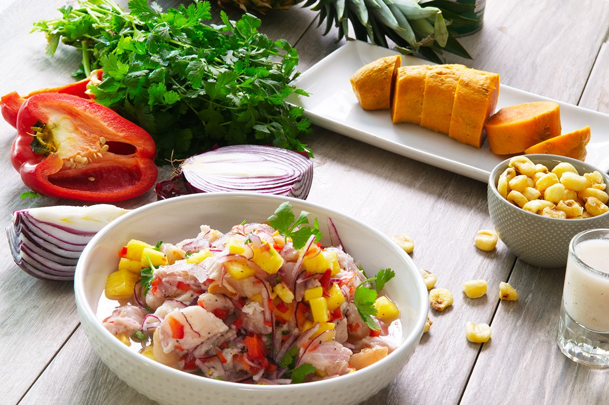 tropical ceviche beauty shot
