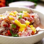 tropical fruit ceviche recipe card